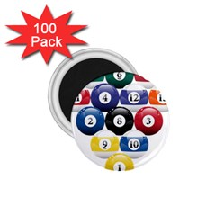 Racked Billiard Pool Balls 1 75  Magnets (100 Pack)