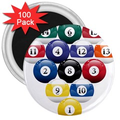 Racked Billiard Pool Balls 3  Magnets (100 Pack)