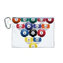Racked Billiard Pool Balls Canvas Cosmetic Bag (m)