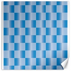 Blue Plaided Pattern Canvas 12  X 12