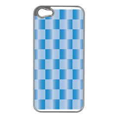 Blue Plaided Pattern Apple Iphone 5 Case (silver)