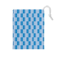 Blue Plaided Pattern Drawstring Pouches (large)