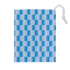 Blue Plaided Pattern Drawstring Pouches (extra Large)