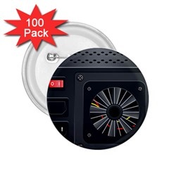 Special Black Power Supply Computer 2 25  Buttons (100 Pack)