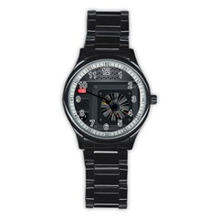Special Black Power Supply Computer Stainless Steel Round Watch