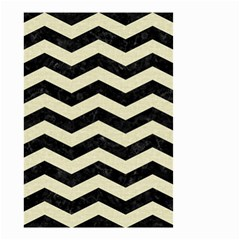 Chevron3 Black Marble & Beige Linen Small Garden Flag (two Sides)