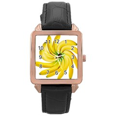Bananas Decoration Rose Gold Leather Watch
