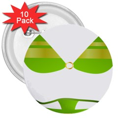 Green Swimsuit 3  Buttons (10 Pack)