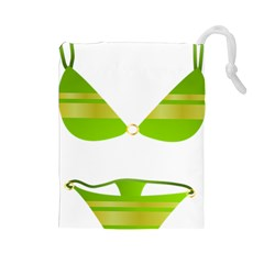 Green Swimsuit Drawstring Pouches (large)