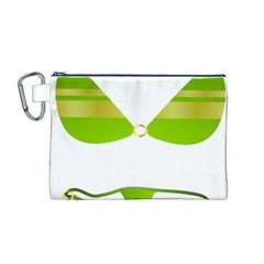 Green Swimsuit Canvas Cosmetic Bag (m)