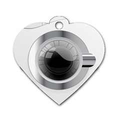 White Washing Machine Dog Tag Heart (one Side)
