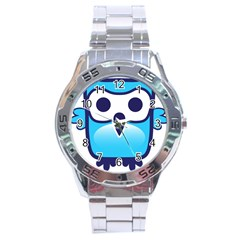 Owl Logo Clip Art Stainless Steel Analogue Watch