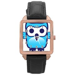 Owl Logo Clip Art Rose Gold Leather Watch