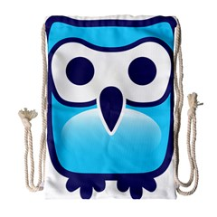 Owl Logo Clip Art Drawstring Bag (large)