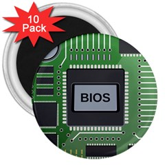 Computer Bios Board 3  Magnets (10 Pack)