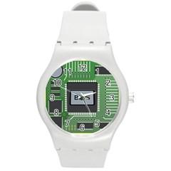 Computer Bios Board Round Plastic Sport Watch (m)