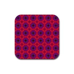 Retro Abstract Boho Unique Rubber Square Coaster (4 Pack)