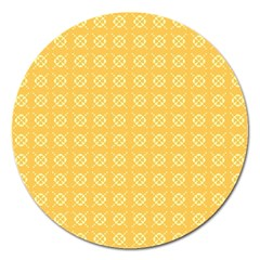 Yellow Pattern Background Texture Magnet 5  (round)