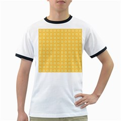 Yellow Pattern Background Texture Ringer T Shirts