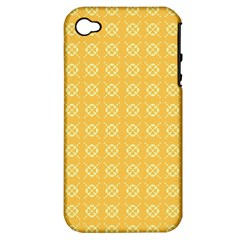 Yellow Pattern Background Texture Apple Iphone 4/4s Hardshell Case (pc+silicone)