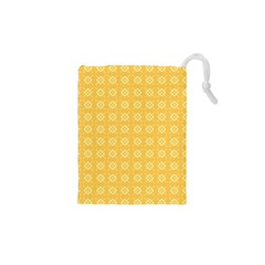 Yellow Pattern Background Texture Drawstring Pouches (xs)