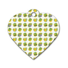 St Patrick S Day Background Symbols Dog Tag Heart (two Sides)