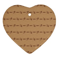 Brown Pattern Background Texture Ornament (heart)