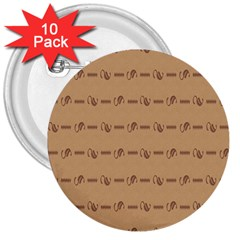 Brown Pattern Background Texture 3  Buttons (10 Pack)