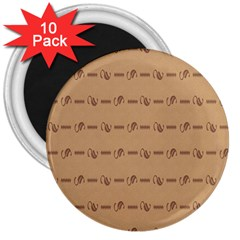 Brown Pattern Background Texture 3  Magnets (10 Pack)