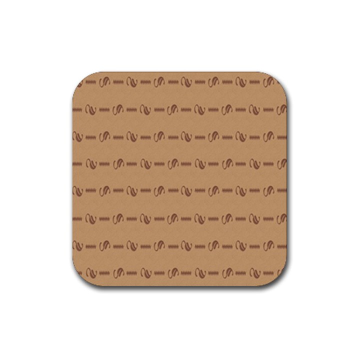 Brown Pattern Background Texture Rubber Coaster (Square)