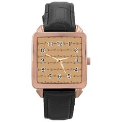 Brown Pattern Background Texture Rose Gold Leather Watch