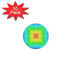 Square Rainbow Pattern Box 1  Mini Buttons (10 Pack)