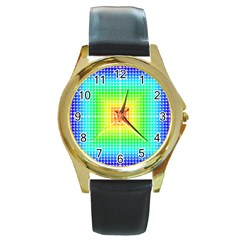 Square Rainbow Pattern Box Round Gold Metal Watch