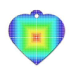 Square Rainbow Pattern Box Dog Tag Heart (one Side)