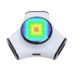 Square Rainbow Pattern Box 3 Port Usb Hub