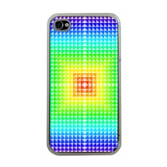 Square Rainbow Pattern Box Apple Iphone 4 Case (clear)