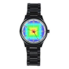 Square Rainbow Pattern Box Stainless Steel Round Watch