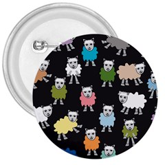 Sheep Cartoon Colorful Black Pink 3  Buttons