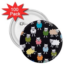 Sheep Cartoon Colorful Black Pink 2 25  Buttons (100 Pack)