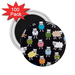 Sheep Cartoon Colorful Black Pink 2 25  Magnets (100 Pack)