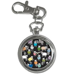 Sheep Cartoon Colorful Black Pink Key Chain Watches