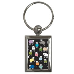 Sheep Cartoon Colorful Black Pink Key Chains (rectangle)