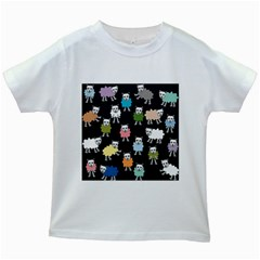 Sheep Cartoon Colorful Black Pink Kids White T Shirts