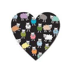 Sheep Cartoon Colorful Black Pink Heart Magnet