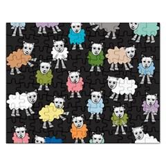 Sheep Cartoon Colorful Black Pink Rectangular Jigsaw Puzzl
