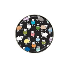 Sheep Cartoon Colorful Black Pink Hat Clip Ball Marker (10 Pack)