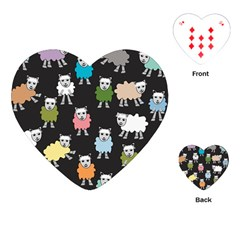 Sheep Cartoon Colorful Black Pink Playing Cards (heart)