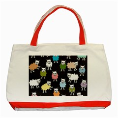Sheep Cartoon Colorful Black Pink Classic Tote Bag (red)
