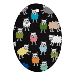 Sheep Cartoon Colorful Black Pink Oval Ornament (two Sides)