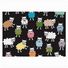 Sheep Cartoon Colorful Black Pink Large Glasses Cloth (2 Side)